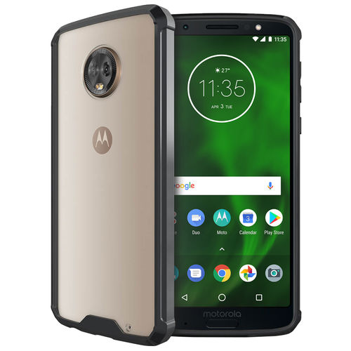 Hybrid Acrylic Hard Case for Motorola Moto G6 Plus - Black / Clear